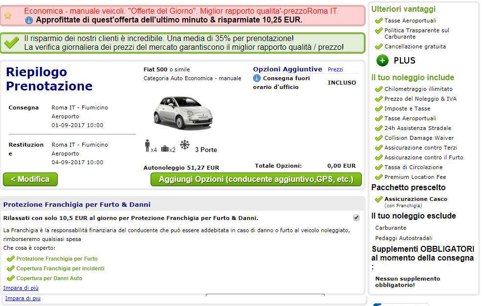 Auto in affitto, scelta di optional e assicurazioni