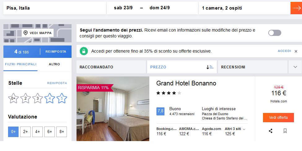 prenotare hotel - prezzi diversi