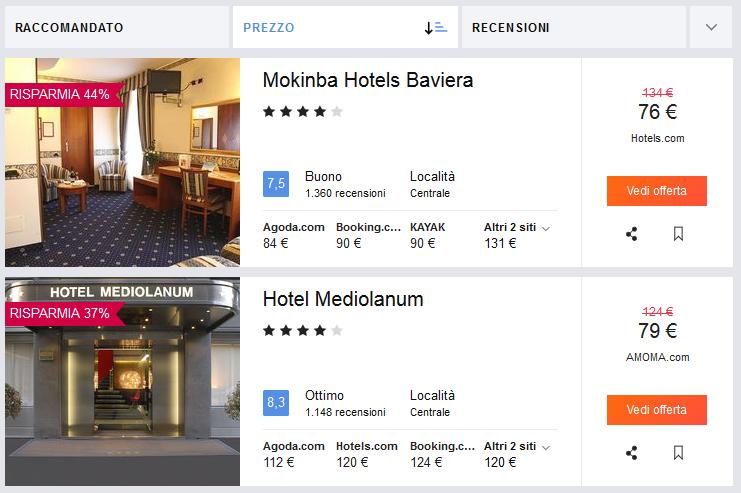 trovare hotel - confronto aggregatore