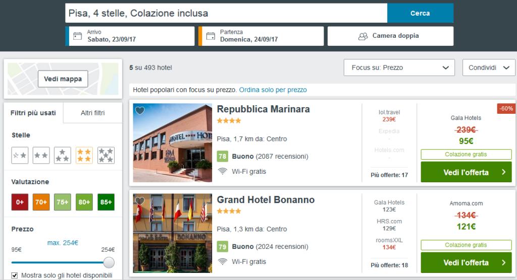 prenotare hotel - ricerca su trivago